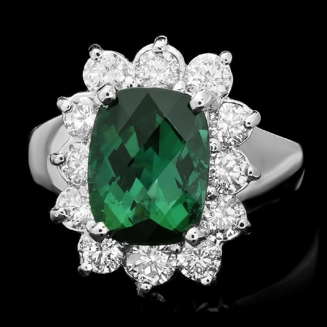 14k Gold 3.00ct Tourmaline 1.05ct Diamond Ring