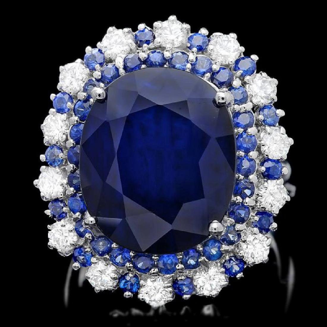 14k Gold 16.4ct Sapphire 1.00ct Diamond Ring
