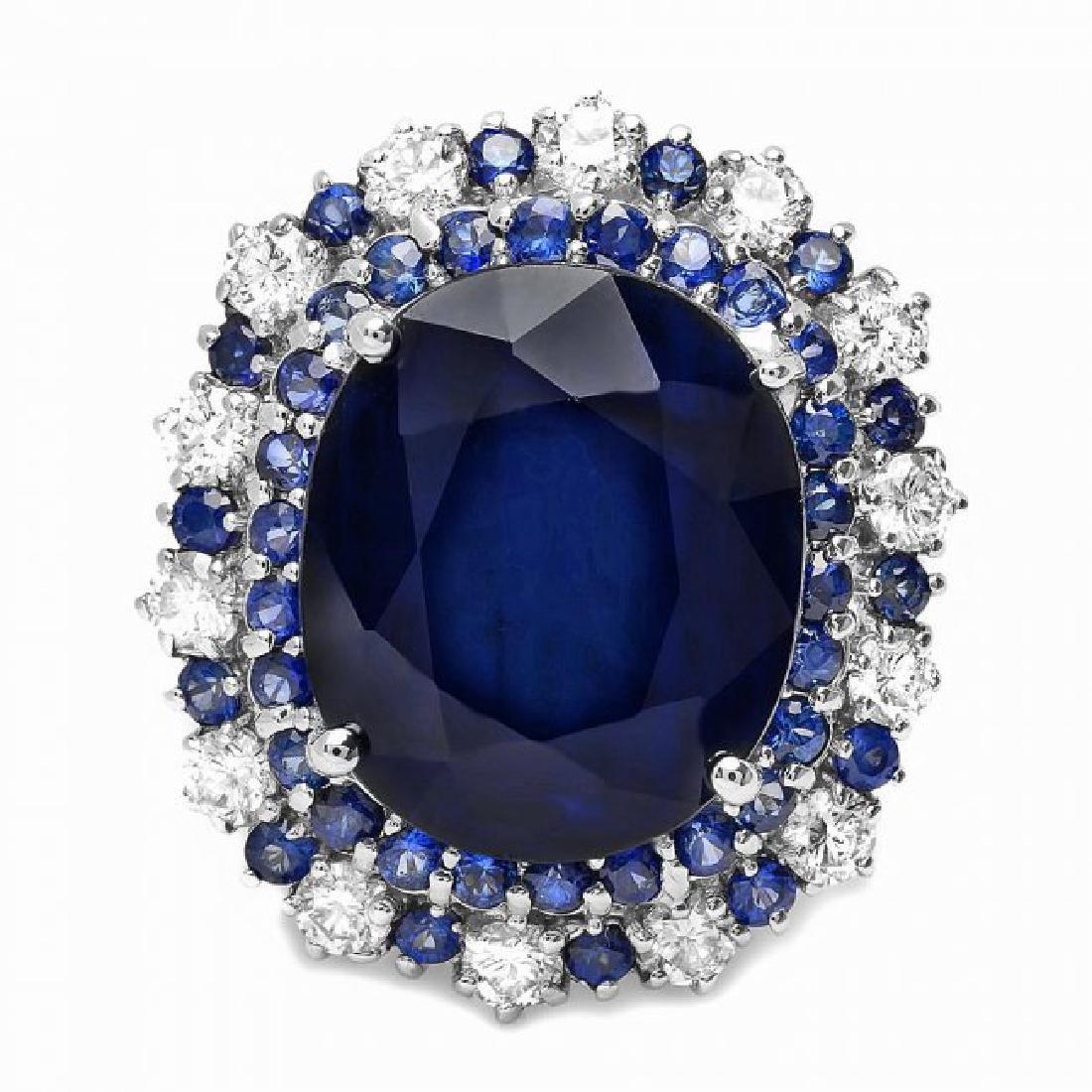 14k Gold 16.4ct Sapphire 1.00ct Diamond Ring - 2