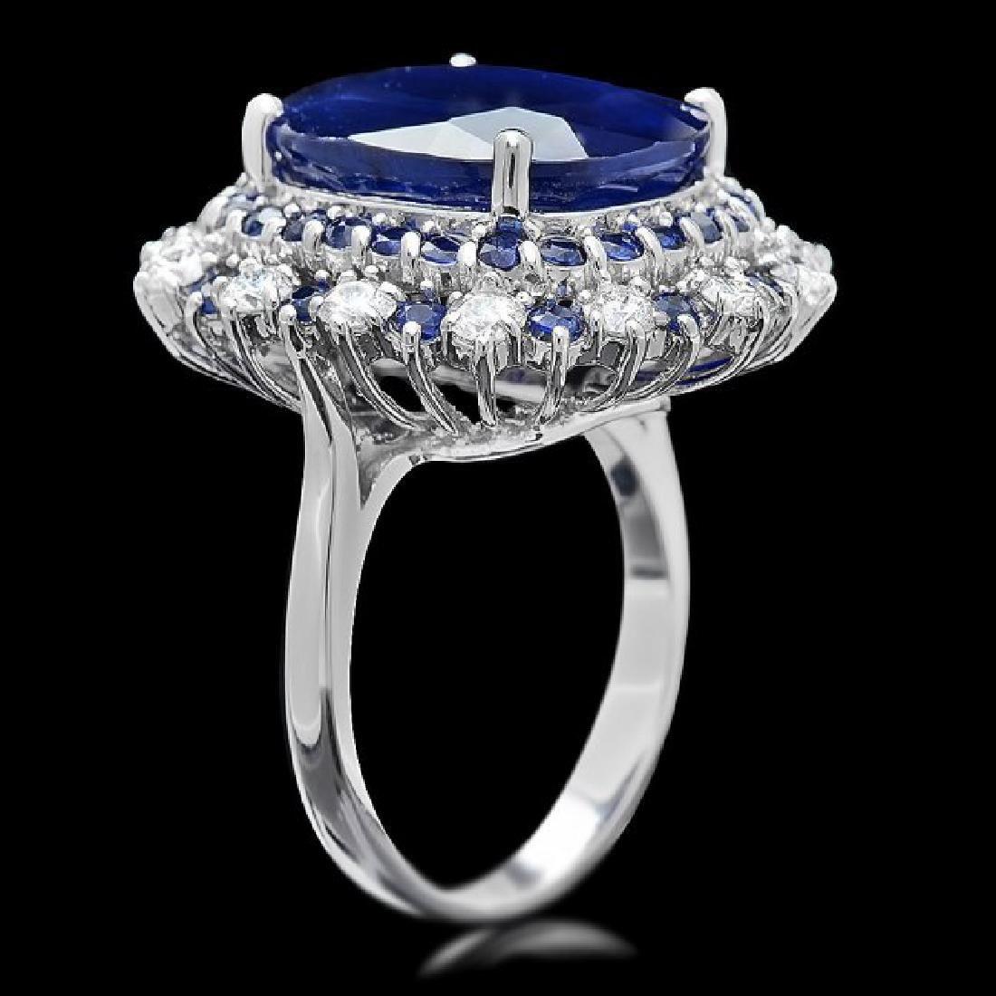 14k Gold 16.4ct Sapphire 1.00ct Diamond Ring - 3