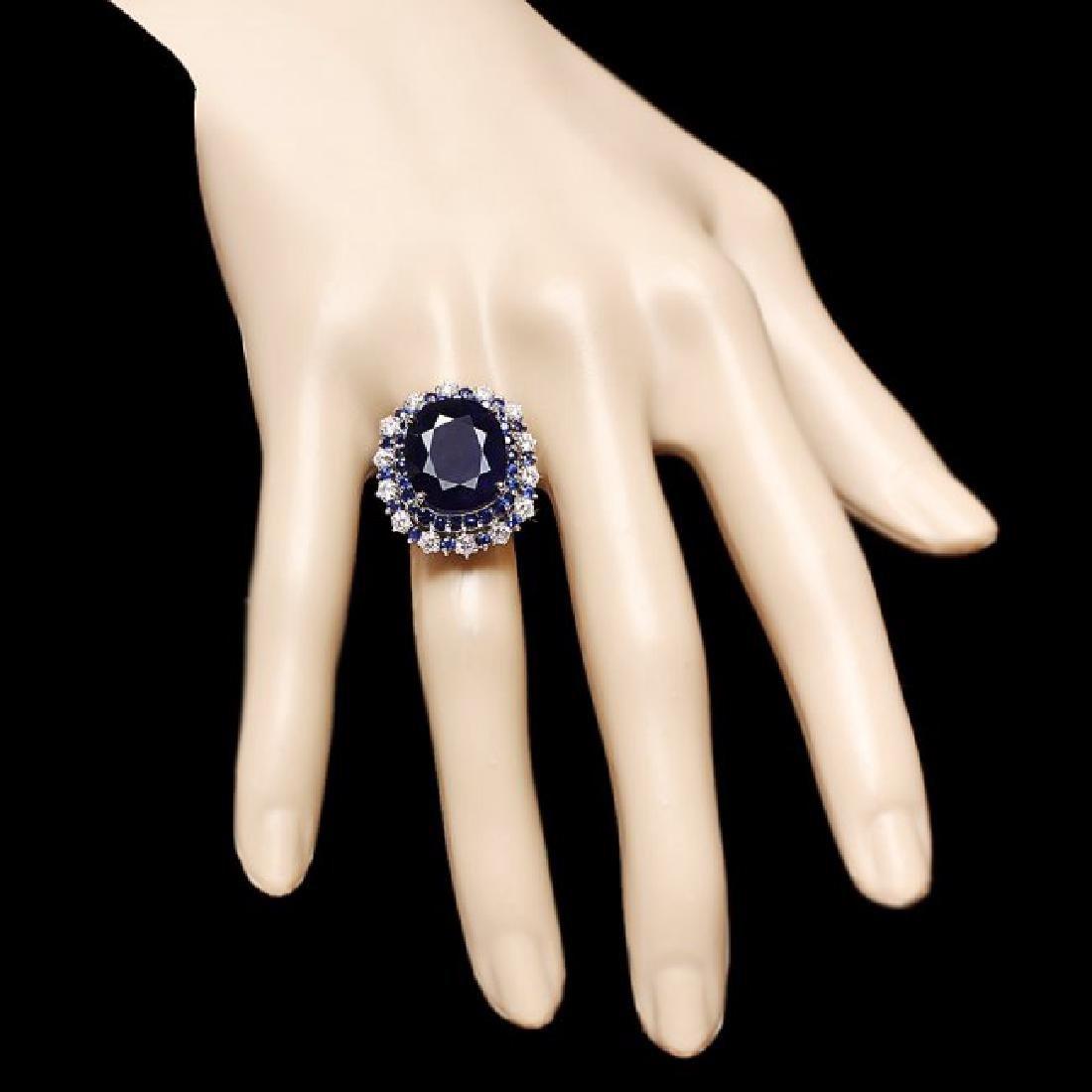 14k Gold 16.4ct Sapphire 1.00ct Diamond Ring - 4