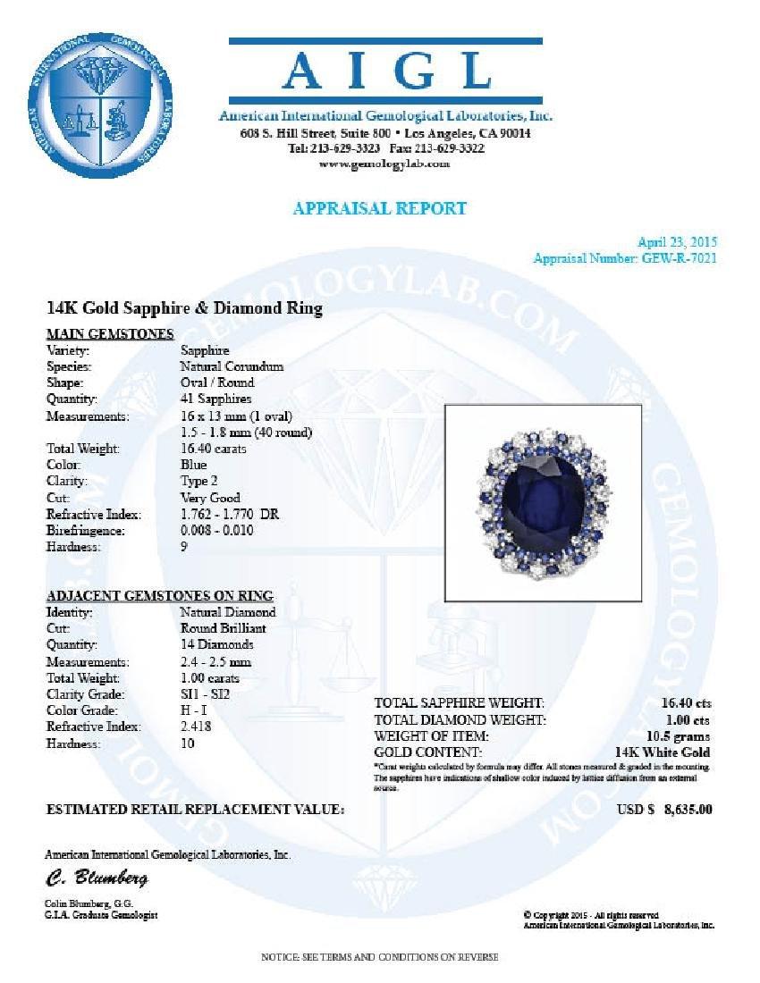 14k Gold 16.4ct Sapphire 1.00ct Diamond Ring - 5