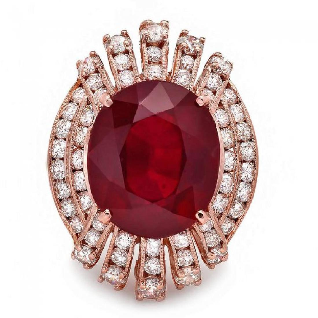 14k Rose Gold 11.80ct Ruby 1.80ct Diamond Ring - 2