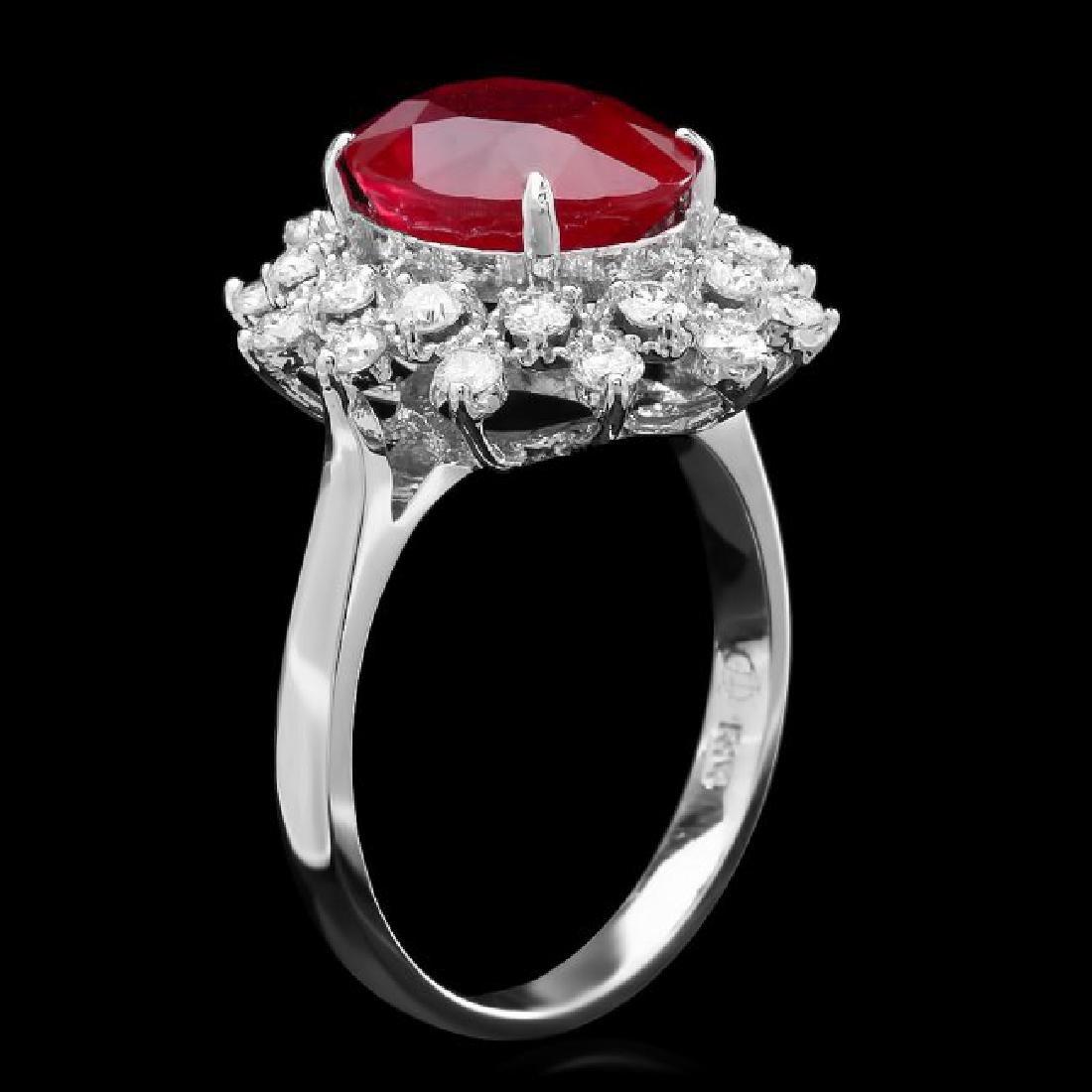 14k White Gold 5.00ct Ruby 0.80ct Diamond Ring - 2