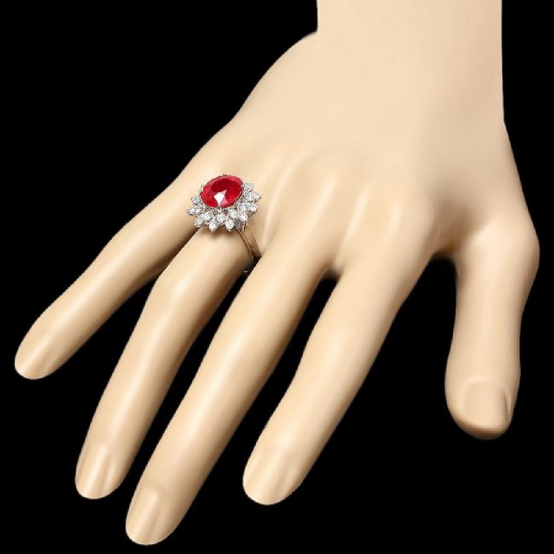 14k White Gold 5.00ct Ruby 0.80ct Diamond Ring - 3