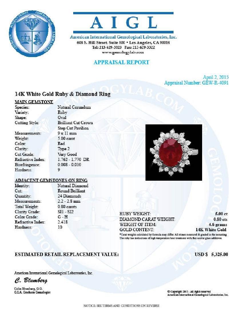 14k White Gold 5.00ct Ruby 0.80ct Diamond Ring - 4