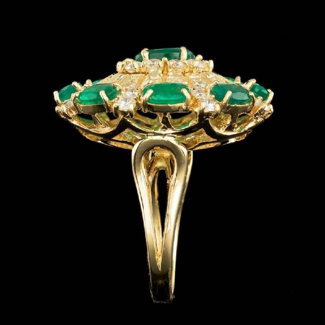 14k Gold 5.00ct Emerald 2.00ct Diamond Ring - 4