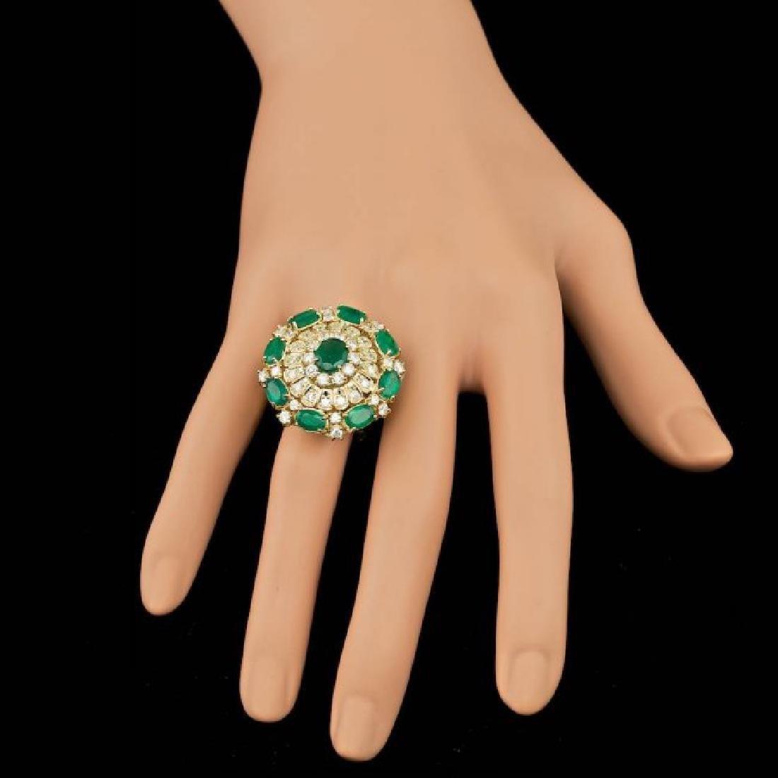 14k Gold 5.00ct Emerald 2.00ct Diamond Ring - 6