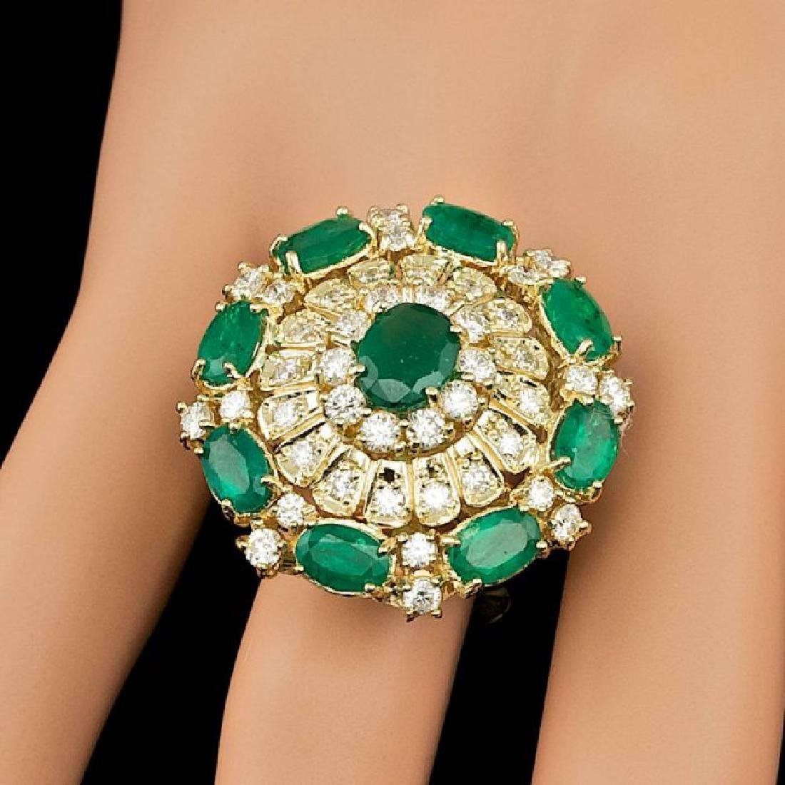 14k Gold 5.00ct Emerald 2.00ct Diamond Ring - 7