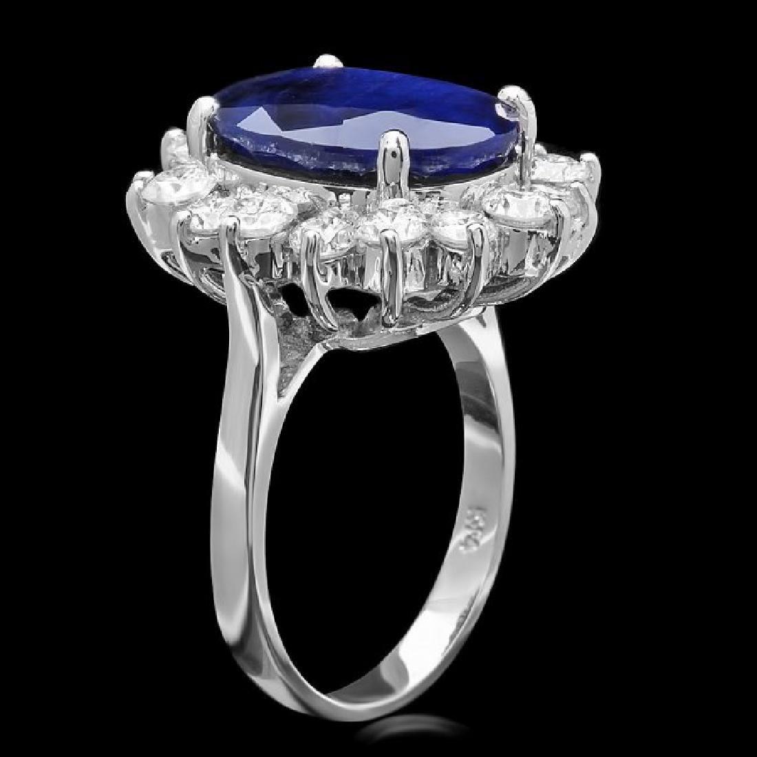 14k Gold 9.00ct Sapphire 2.00ct Diamond Ring - 2
