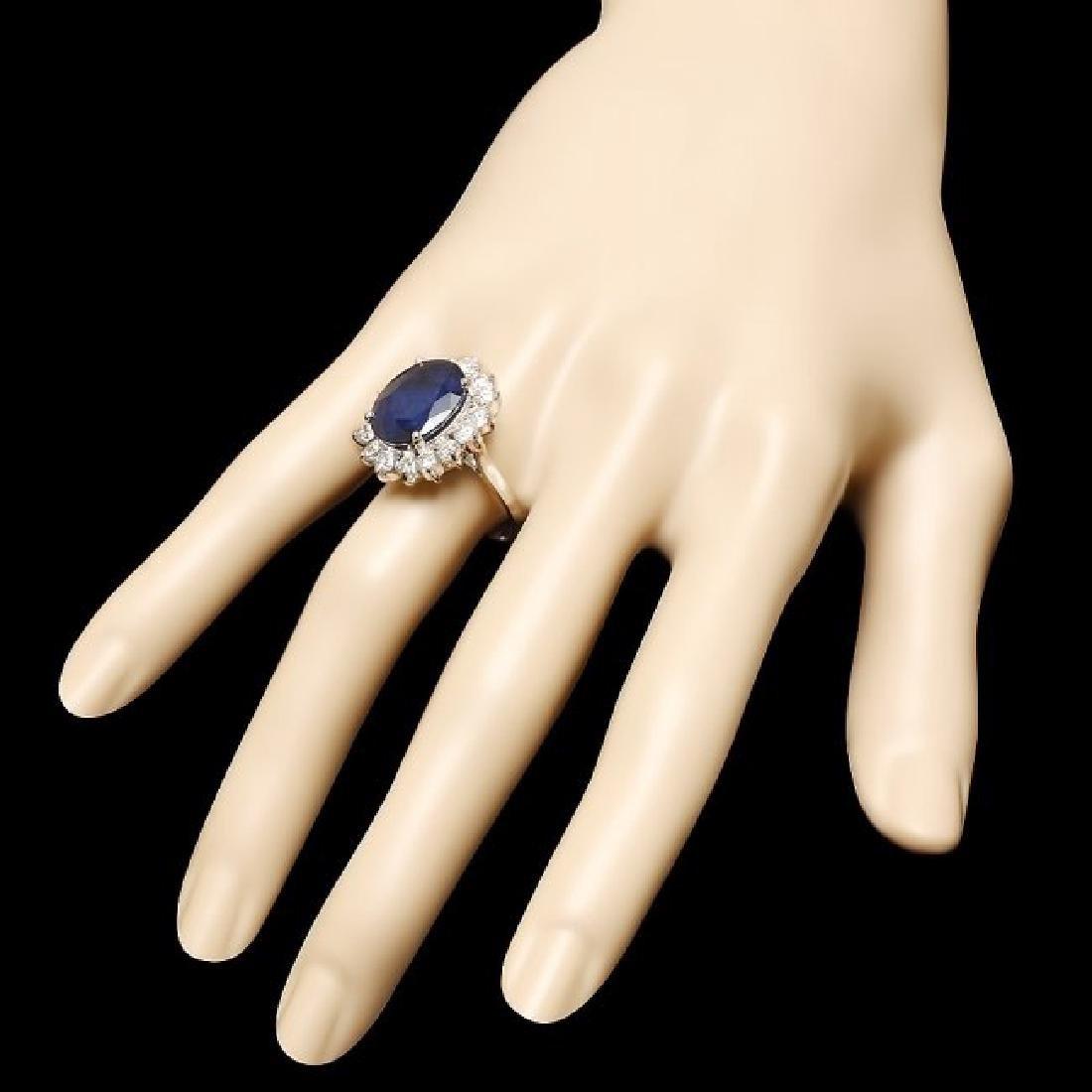 14k Gold 9.00ct Sapphire 2.00ct Diamond Ring - 3