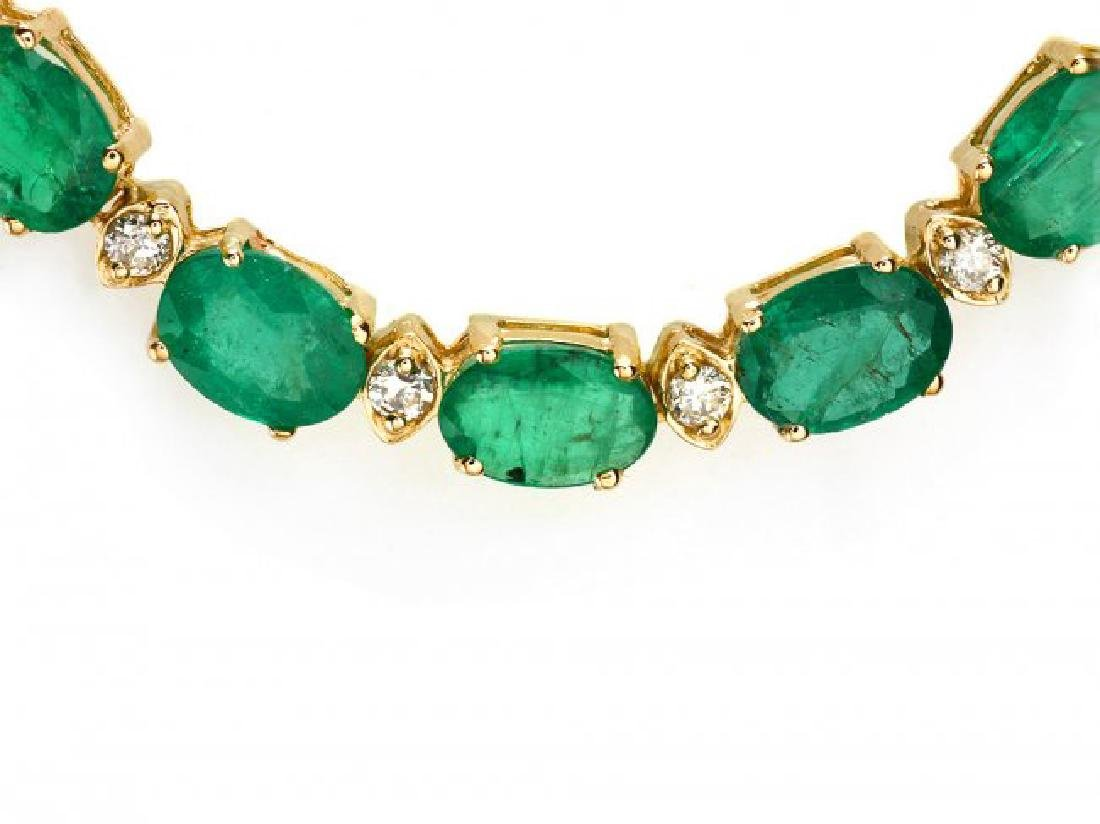14k Gold 32ct Emerald 1.75ct Diamond Necklace - 2