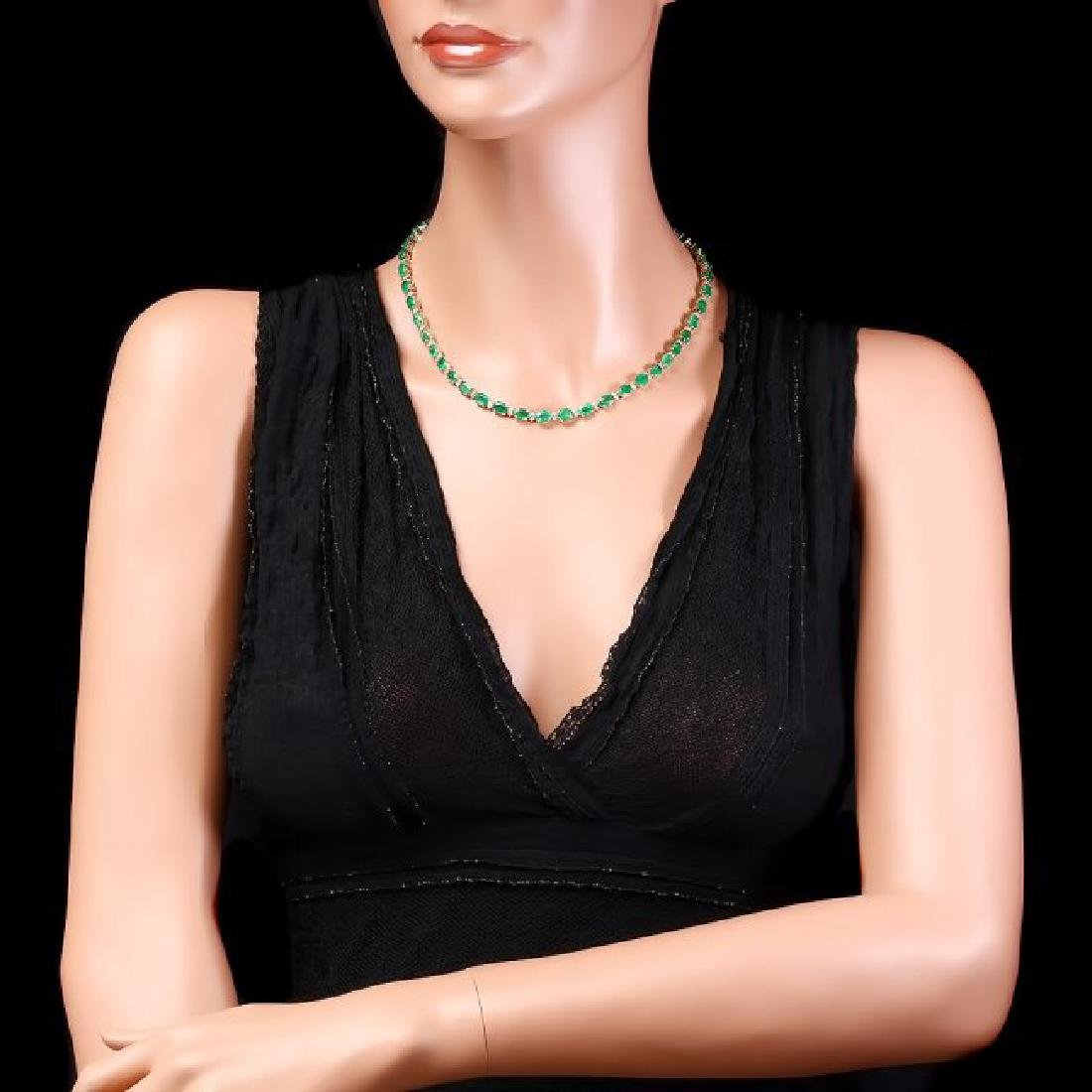 14k Gold 32ct Emerald 1.75ct Diamond Necklace - 3