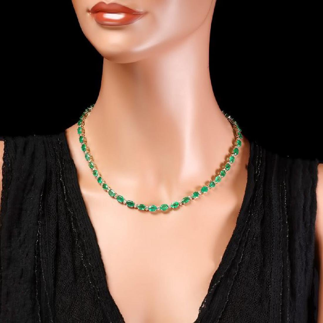 14k Gold 32ct Emerald 1.75ct Diamond Necklace - 4