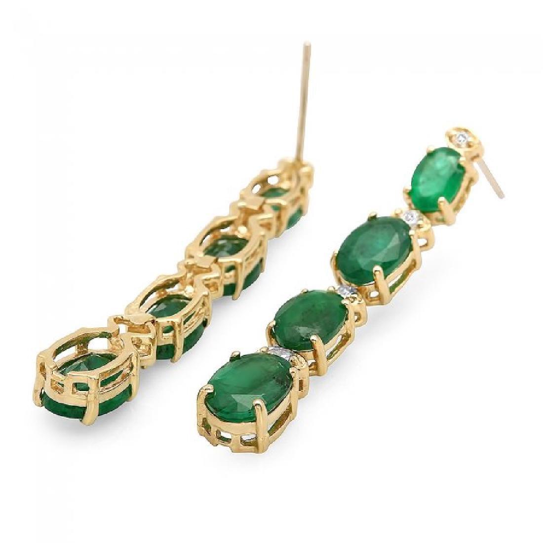 14k Gold 5.50ct Emerald 0.35ct Diamond Earrings - 2