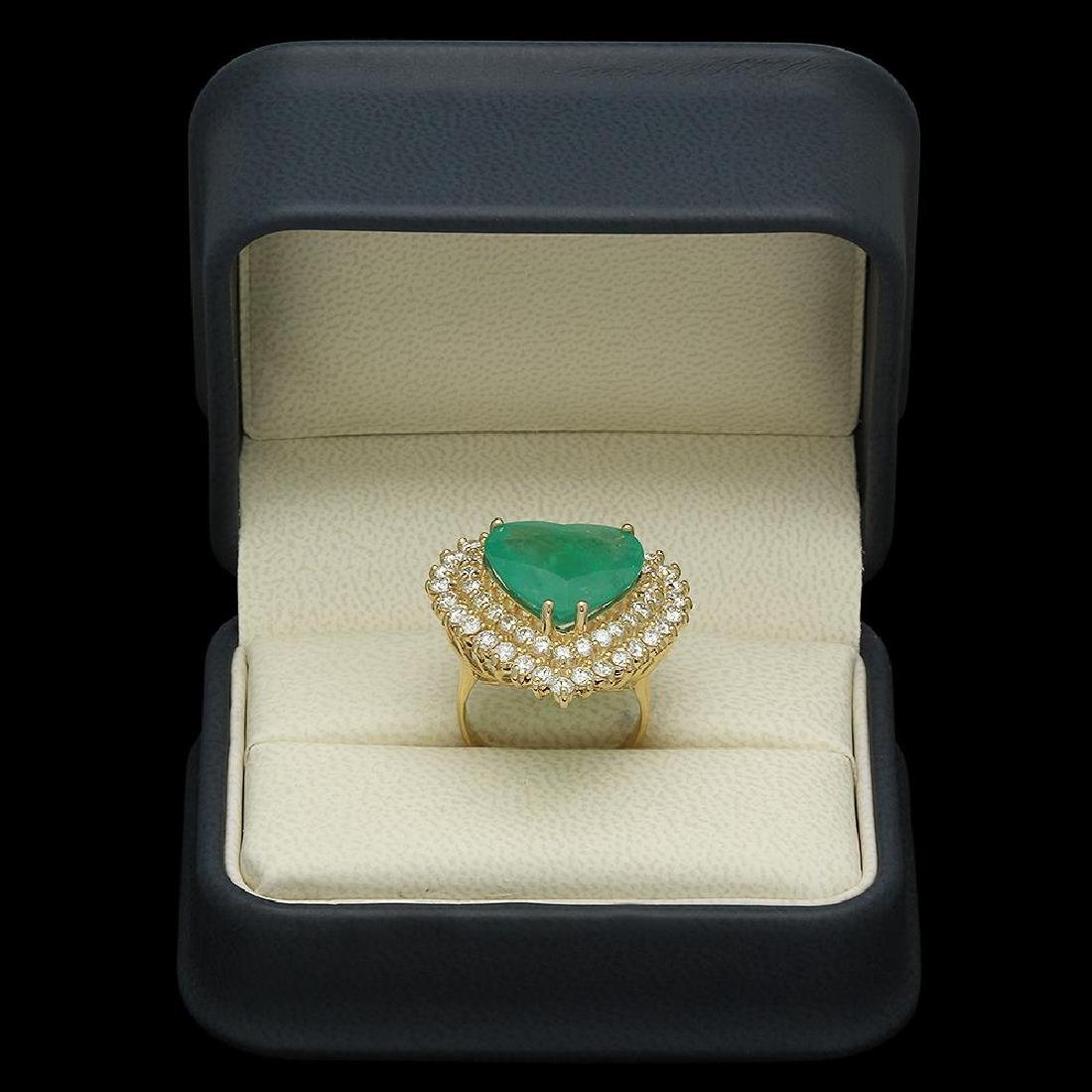 14K Gold 11.09ct Emerald 2.83ct Diamond Ring - 4