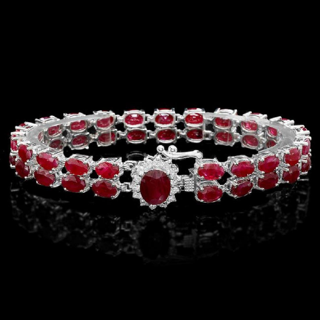 14k White Gold 28ct Ruby 0.50ct Diamond Bracelet - 2