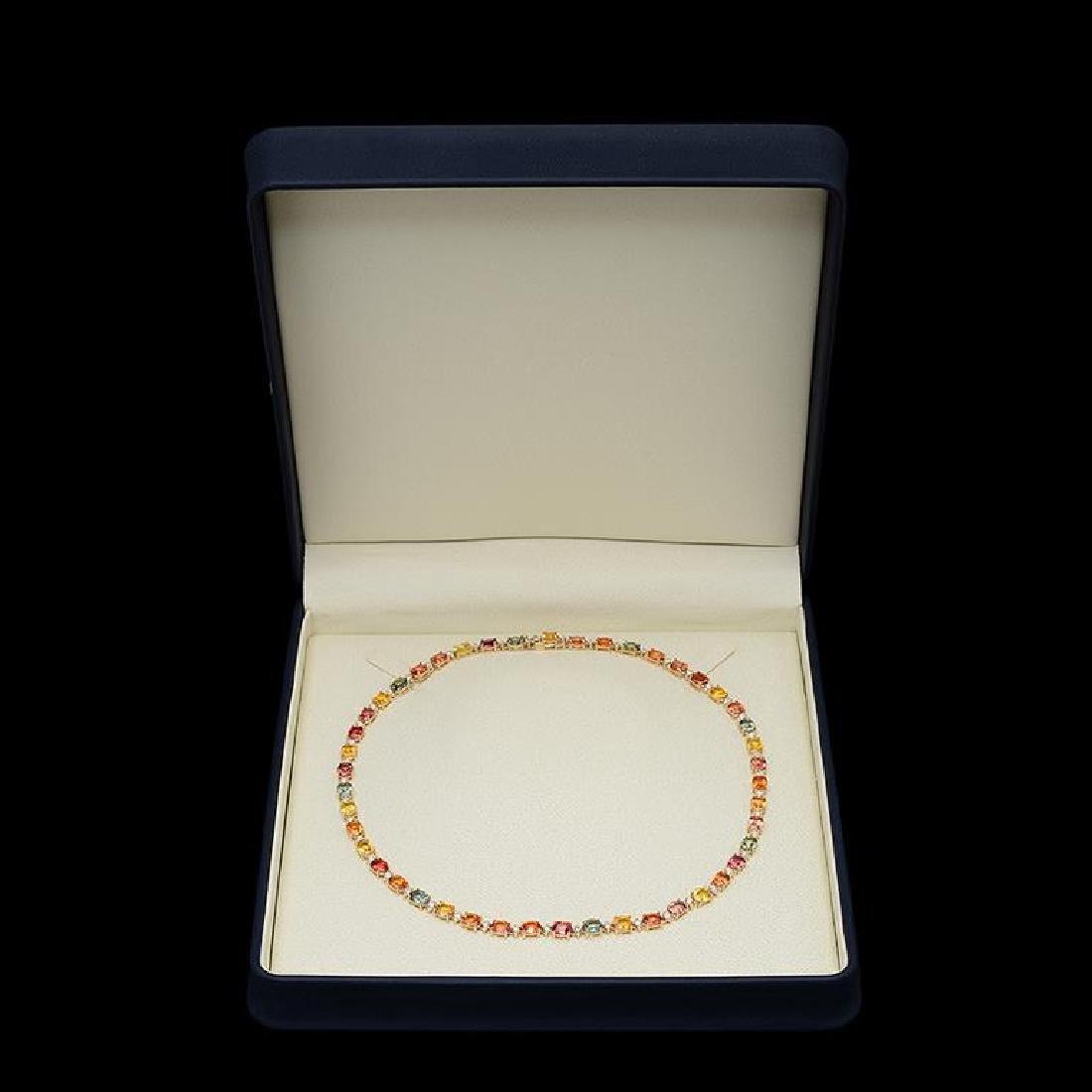 14K Gold 35.35ct Multi Color Sapphire 1.41ct Diamond - 2