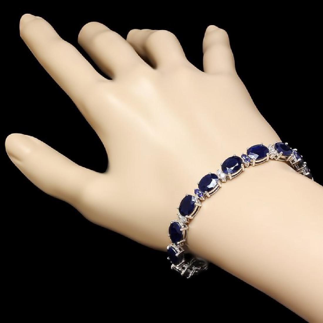 14k Gold 35.8ct Sapphire 0.75ct Diamond Bracelet - 5