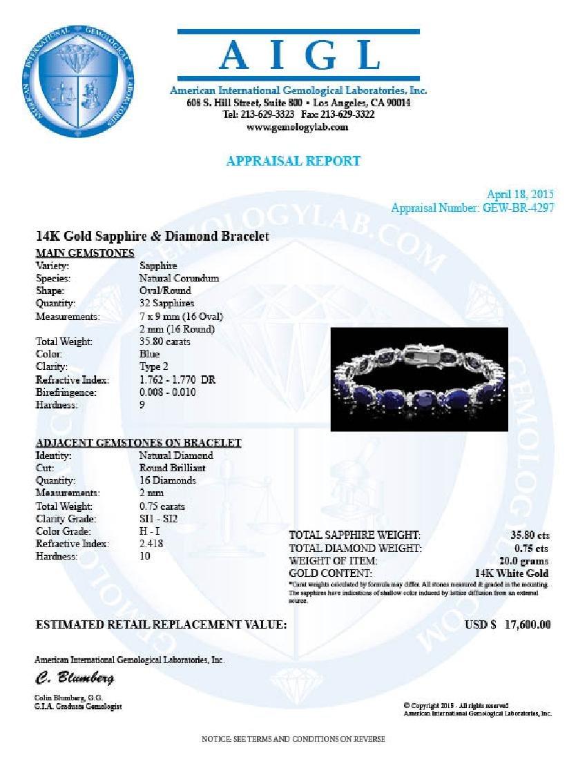 14k Gold 35.8ct Sapphire 0.75ct Diamond Bracelet - 7