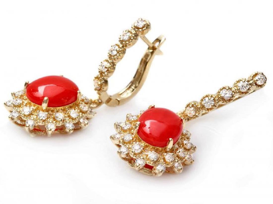 14k Gold 4.00ct Coral 1.50ct Diamond Earrings - 2