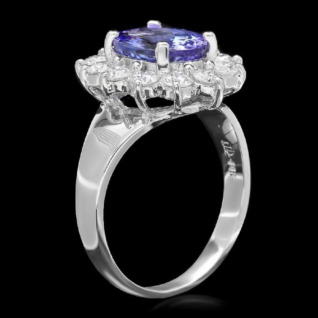 14k White Gold 2.50ct Tanzanite 1ct Diamond Ring - 2