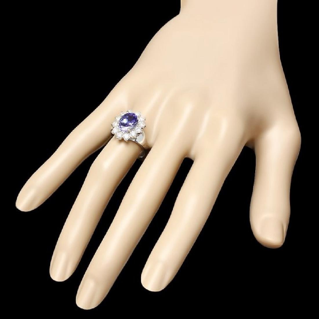 14k White Gold 2.50ct Tanzanite 1ct Diamond Ring - 3