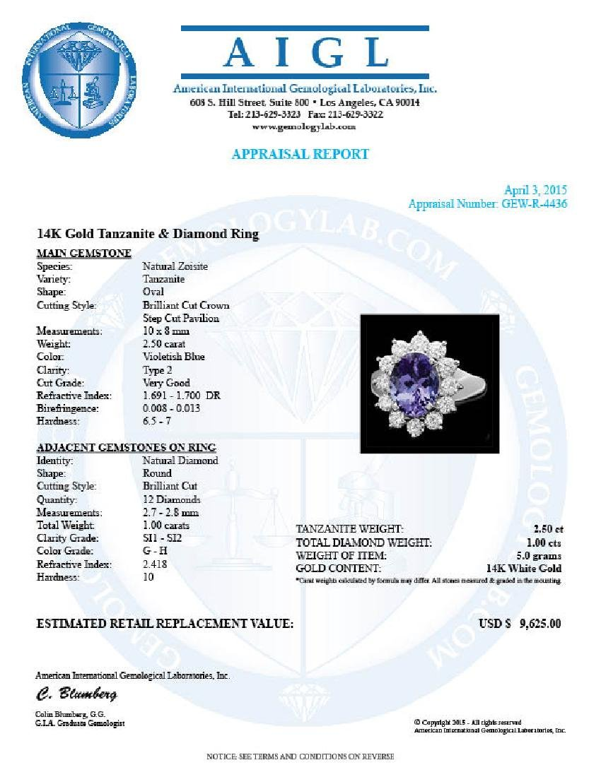 14k White Gold 2.50ct Tanzanite 1ct Diamond Ring - 4