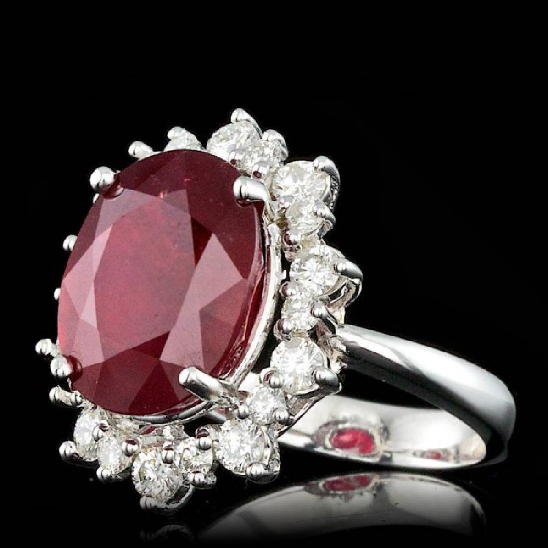 14k White Gold 11.00ct Ruby 1.15ct Diamond Ring - 2