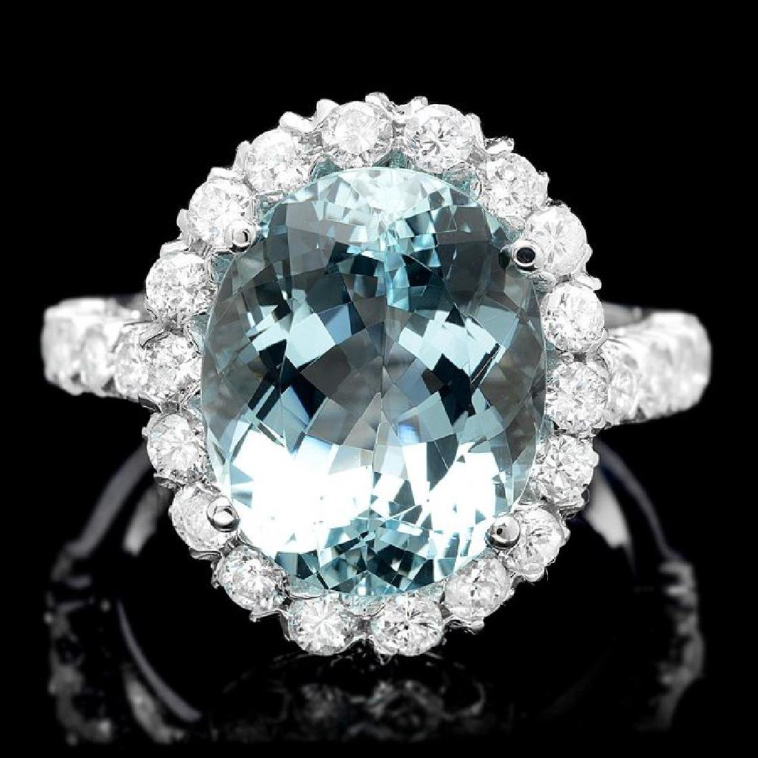 14k Gold 7.50ct Aquamarine 1.55ct Diamond Ring