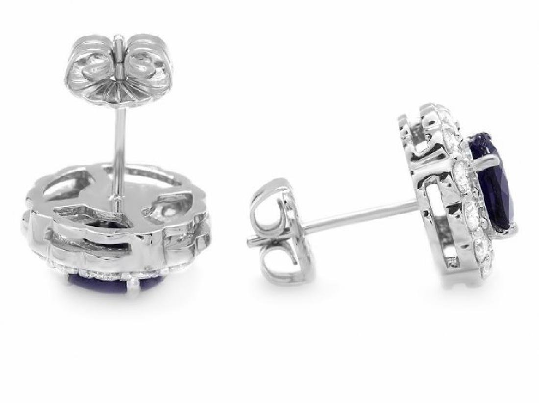 14k Gold 3ct Sapphire 1.15ct Diamond Earrings - 2