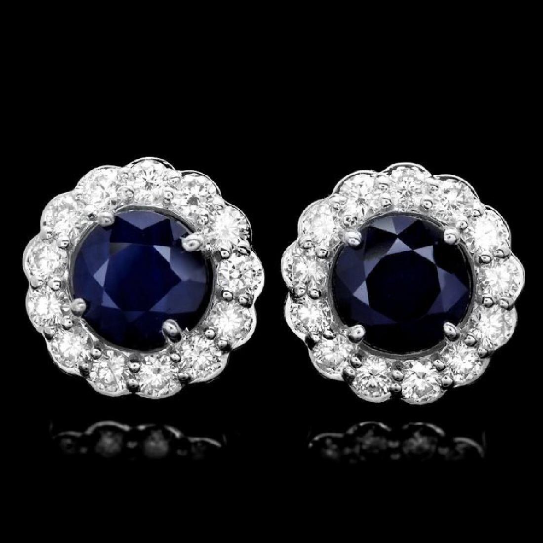 14k Gold 3ct Sapphire 1.15ct Diamond Earrings - 3