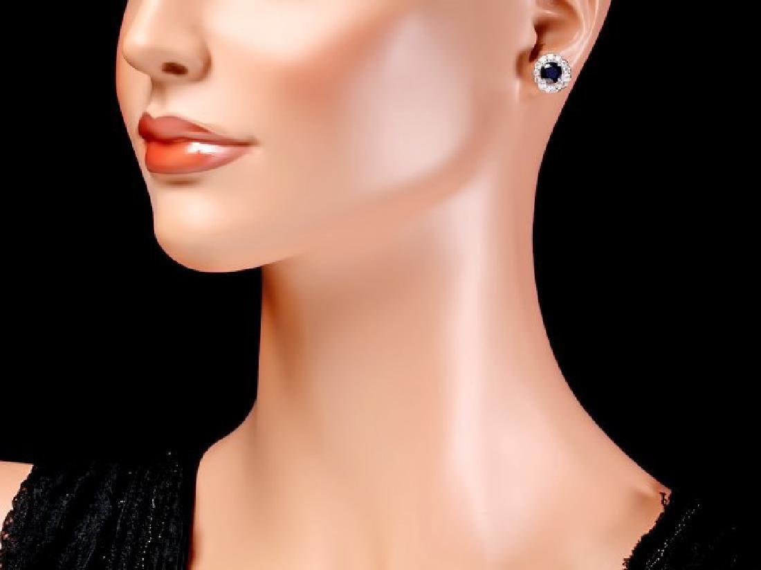 14k Gold 3ct Sapphire 1.15ct Diamond Earrings - 4