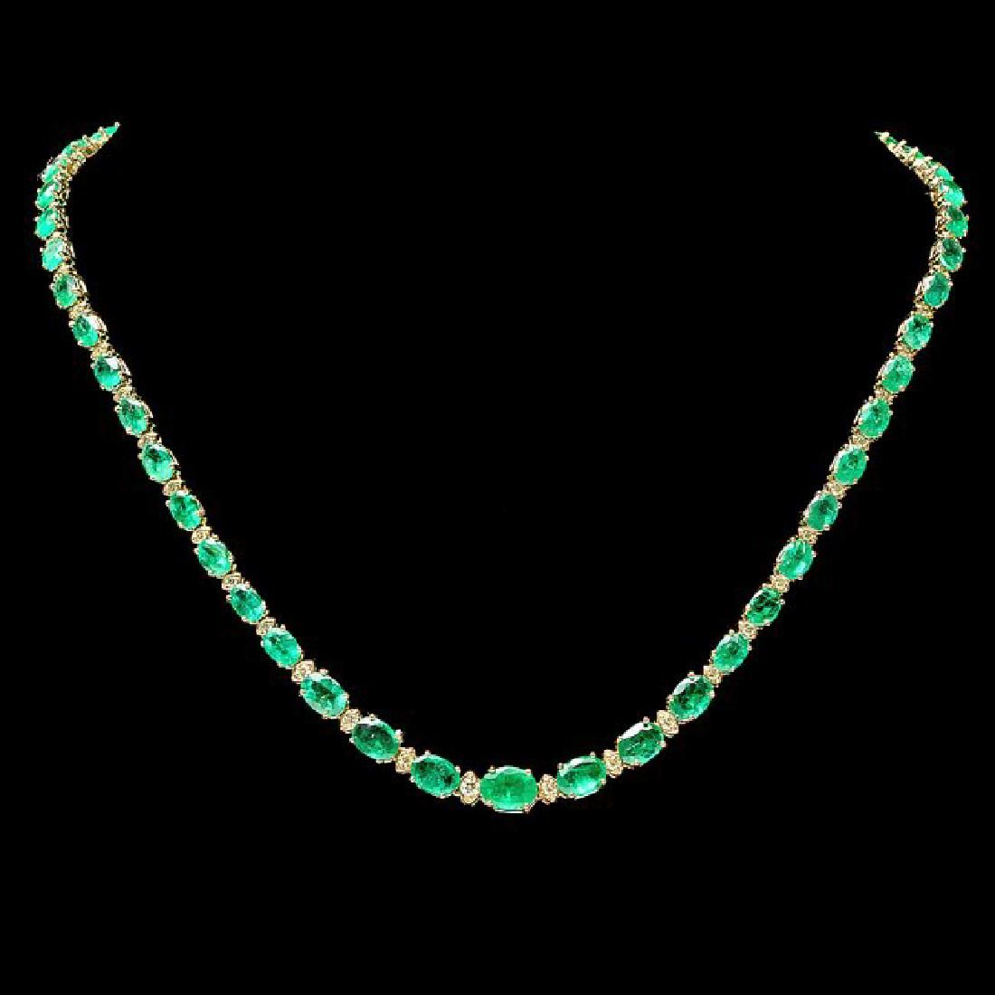 14k Gold 22ct Emerald 1.10ct Diamond Necklace
