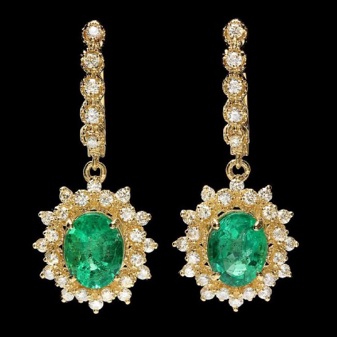 14k Gold 4ct Emerald 1.55ct Diamond Earrings