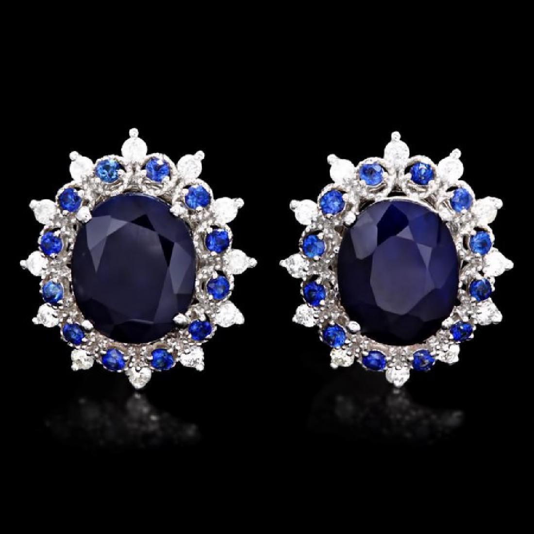 14k Gold 8ct Sapphire 0.70ct Diamond Earrings