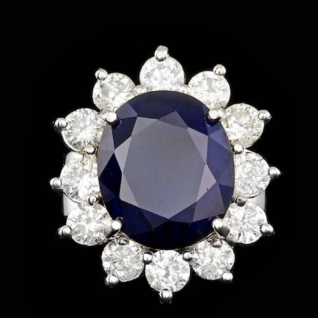 14k Gold 8.00ct Sapphire 2.50ct Diamond Ring