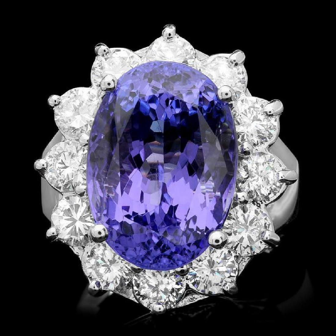 14k Gold 11.50ct Tanzanite 2.10ct Diamond Ring