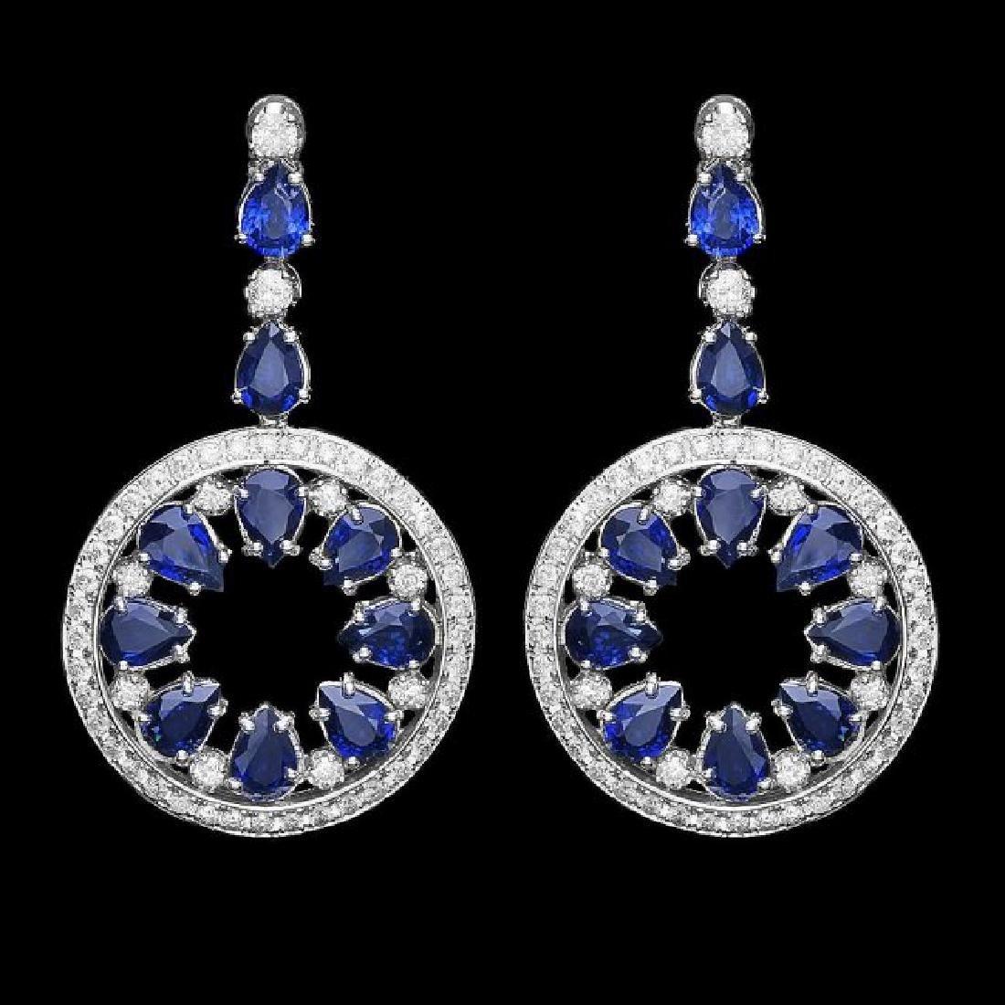 14k Gold 16ct Sapphire 3.50ct Diamond Earrings