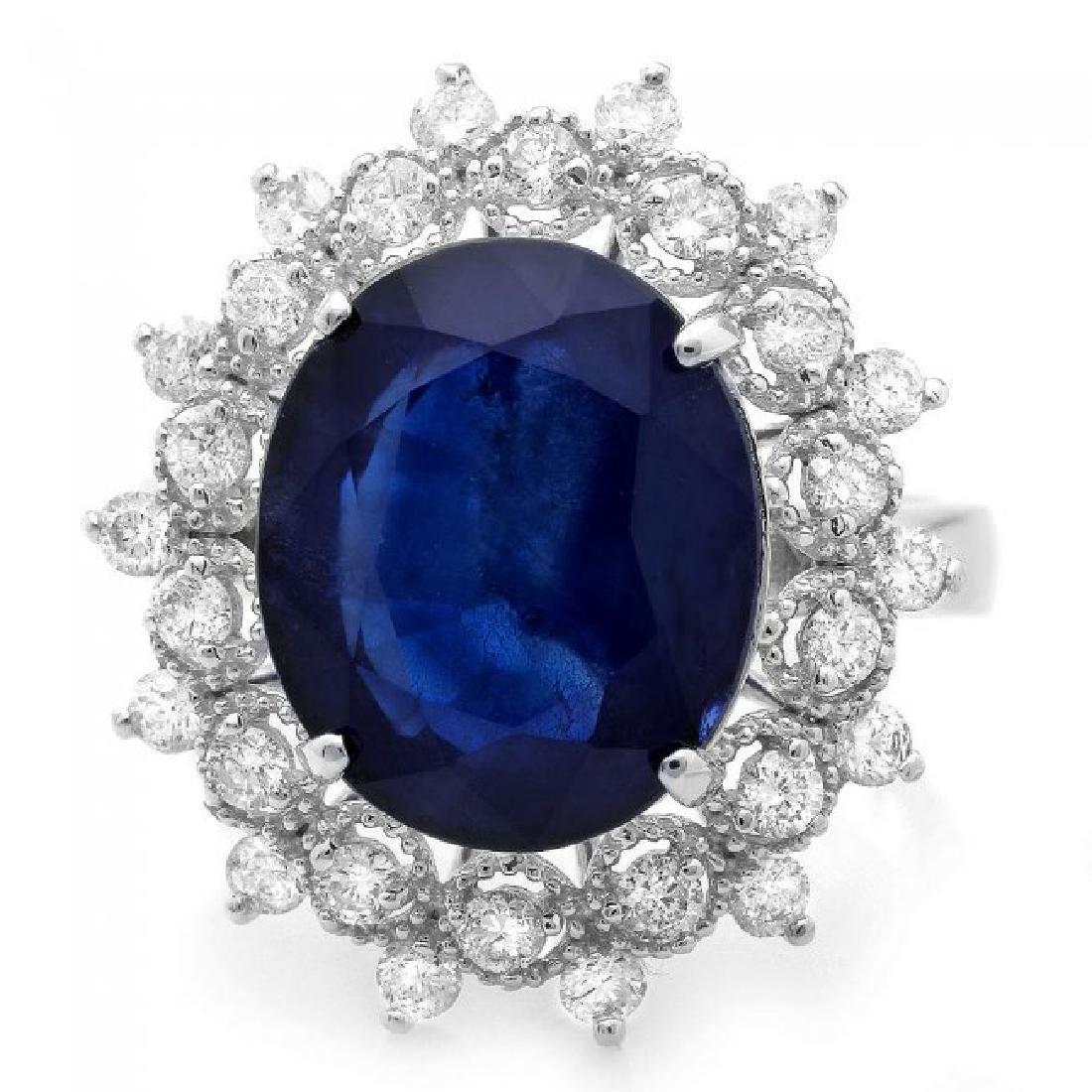14k Gold 7.00ct Sapphire 0.80ct Diamond Ring - 2