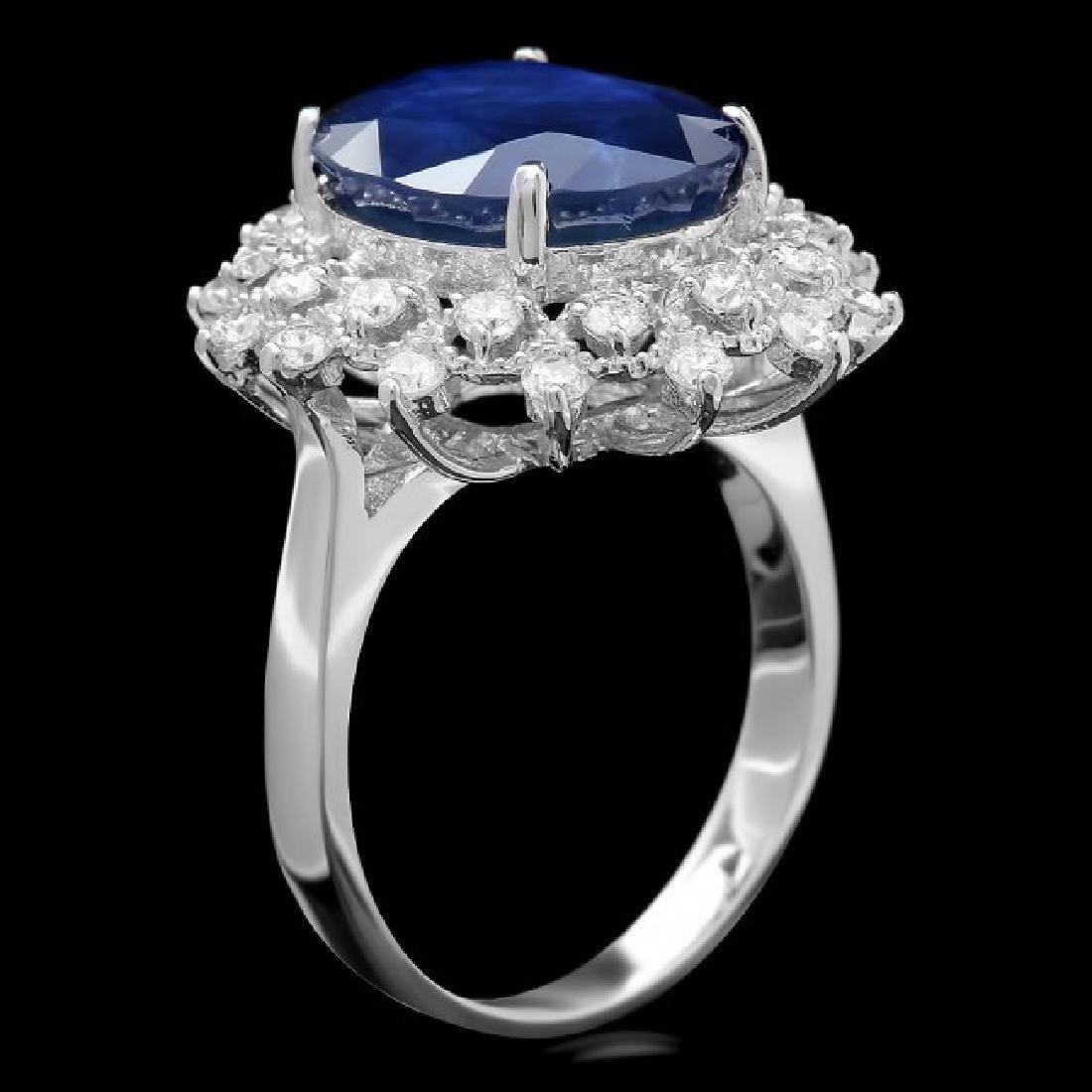 14k Gold 7.00ct Sapphire 0.80ct Diamond Ring - 3
