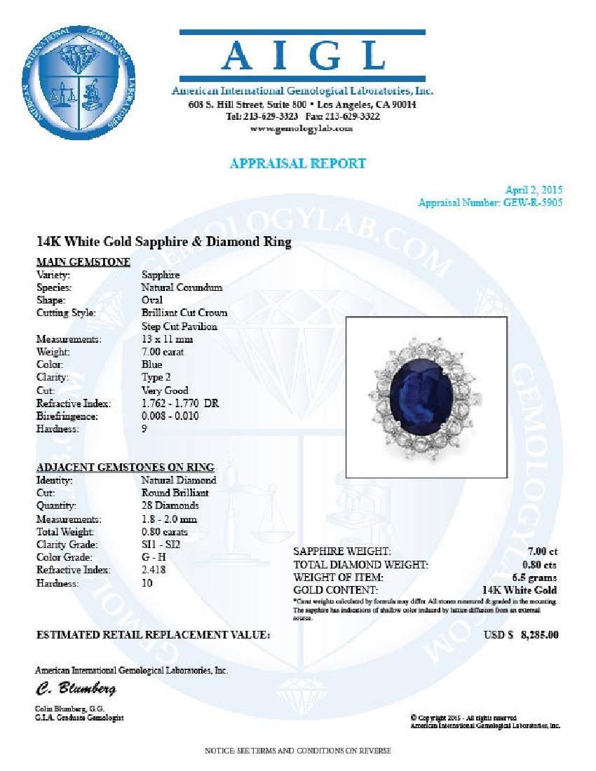 14k Gold 7.00ct Sapphire 0.80ct Diamond Ring - 5