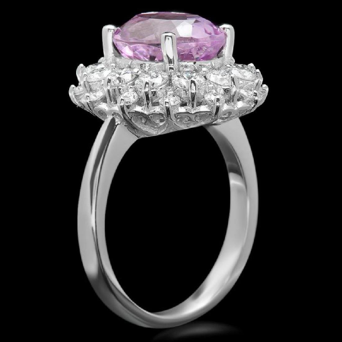 14k White Gold 4.50ct Kunzite 1.60ct Diamond Ring - 2