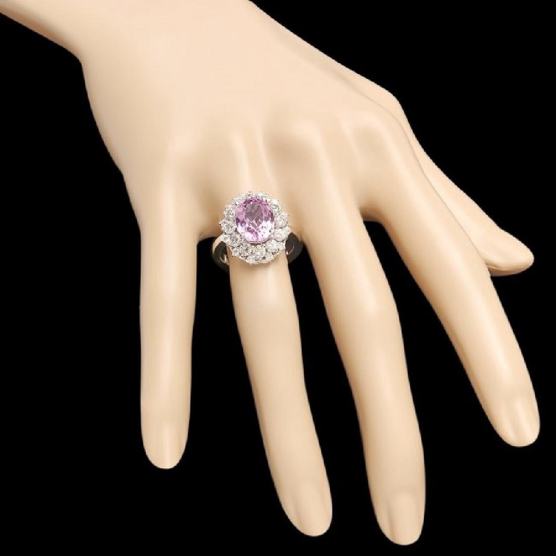 14k White Gold 4.50ct Kunzite 1.60ct Diamond Ring - 3