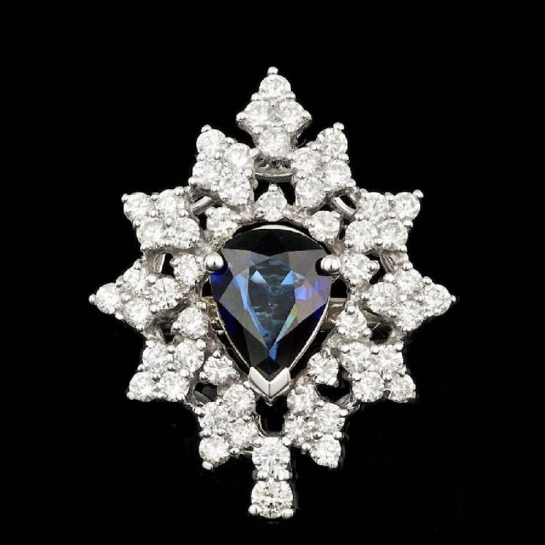 14k Gold 2.00ct Sapphire 1.55ct Diamond Ring