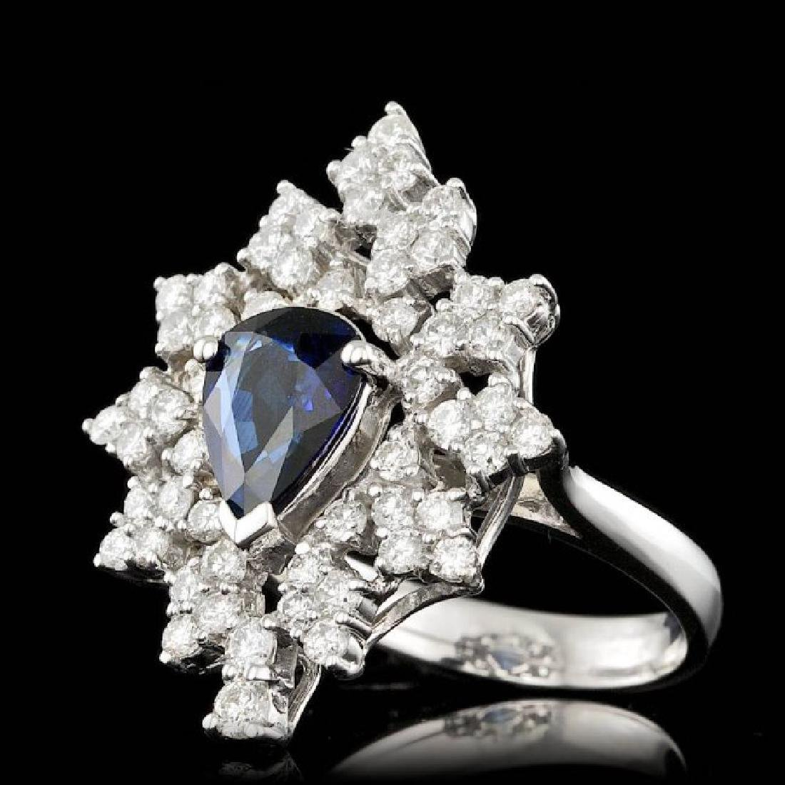 14k Gold 2.00ct Sapphire 1.55ct Diamond Ring - 2