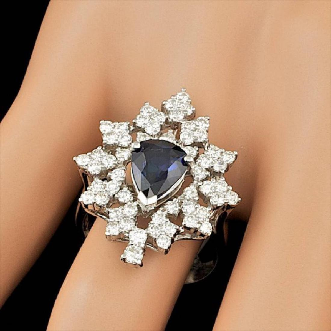 14k Gold 2.00ct Sapphire 1.55ct Diamond Ring - 3