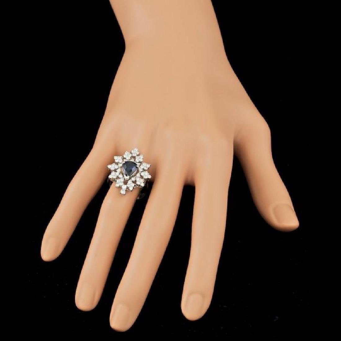 14k Gold 2.00ct Sapphire 1.55ct Diamond Ring - 4