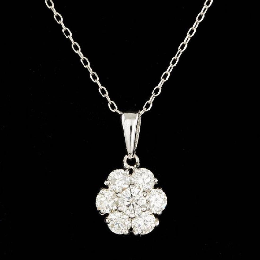 14k White Gold 0.90ct Diamond Pendant