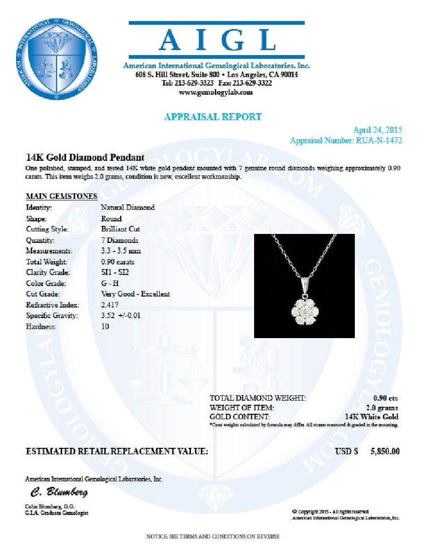 14k White Gold 0.90ct Diamond Pendant - 5
